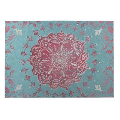 Aqua/Coral Indoor/Outdoor Doormat Rug Size: Square 8