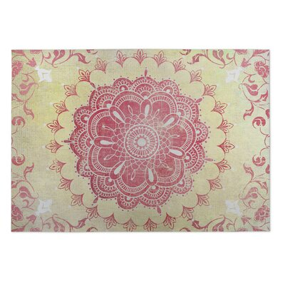 Gold/Coral Indoor/Outdoor Doormat Mat Size: Rectangle 5 x 7