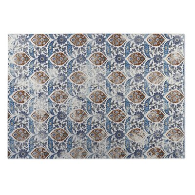 Ivory/Blue Indoor/Outdoor Doormat Rug Size: Square 8