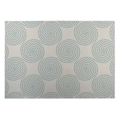 Ivory/Blue Indoor/Outdoor Doormat Rug Size: 2 x 3