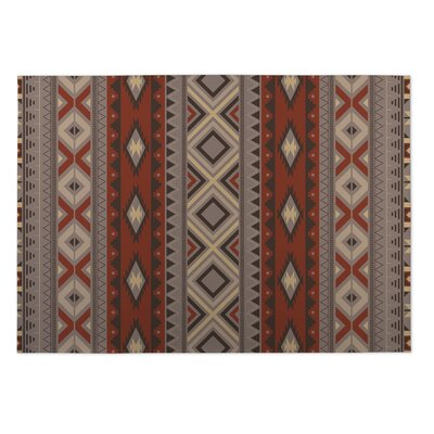 Red/Gray Indoor/Outdoor Doormat Rug Size: 5 x 7