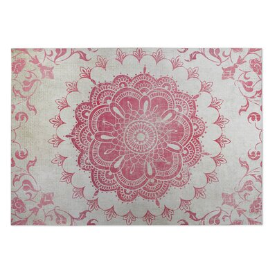 Ivory/Coral Indoor/Outdoor Doormat Rug Size: 2 x 3