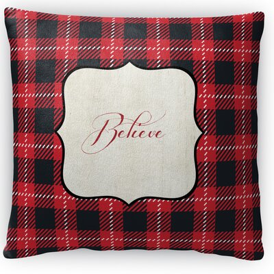 Believe Fleece Throw Pillow Size: 16 H x 16 W x 4 D