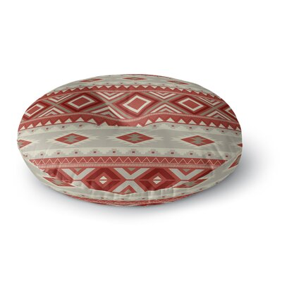 Cabarley Round Floor Pillow Size: 23 H x 23 W x 9.5 D, Color: Red/ Tan