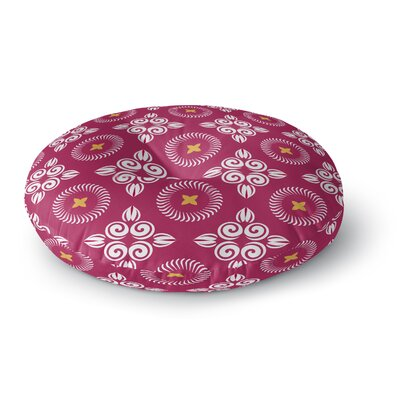 Scrolled Floral Round Floor Pillow Size: 23 H x 23 W x 9.5 D