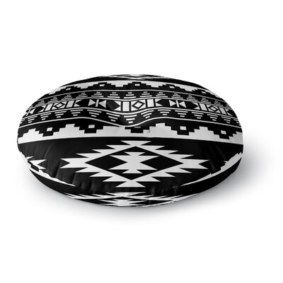 Cherokee Round Floor Pillow Size: 23 H x 23 W x 9.5 D, Color: Black/White