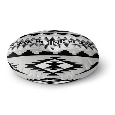 Cherokee Round Floor Pillow Size: 26 H x 26 W x 12.5 D, Color: Gray/Black