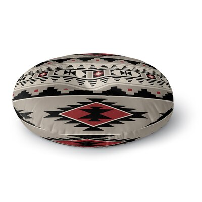 Cherokee Round Floor Pillow Size: 26 H x 26 W x 12.5 D, Color: Gray/ Black/Red