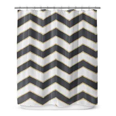 Chevron 72 Shower Curtain Color: White / Black / Gold