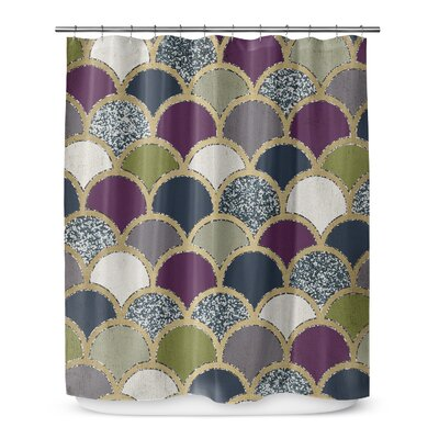 Scales 90 Shower Curtain Color: Dark Gray / Purple