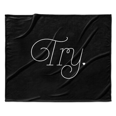 Try Fleece Throw Blanket Size: 90 W x 90 L, Color: Black
