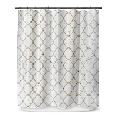 Ogee 72 Shower Curtain Color: Gray / Gold