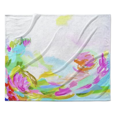 Hollyhock Fleece Throw Blanket Size: 60 W x 80 L