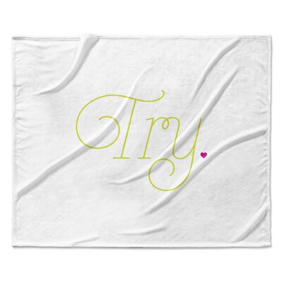 Try Fleece Throw Blanket Color: White, Size: 50 W x 60 L