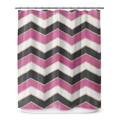 Chevron 72 Shower Curtain Color: White / Pink / Black