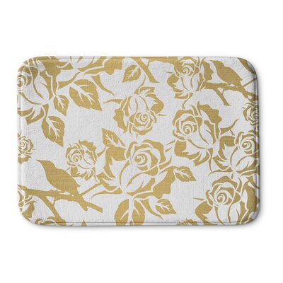 Metallic Garden Memory Foam Bath Rug Size: 24 W x 36 L, Color: White / Yellow