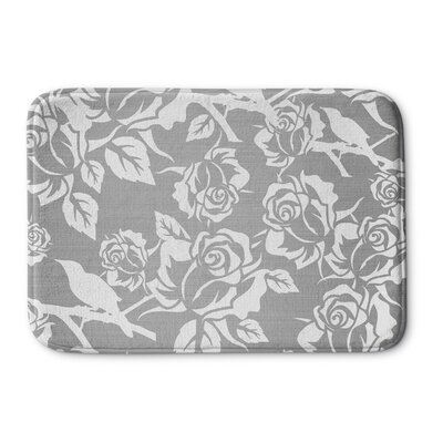 Metallic Garden Memory Foam Bath Rug Size: 24 W x 36 L, Color: Grey/ White