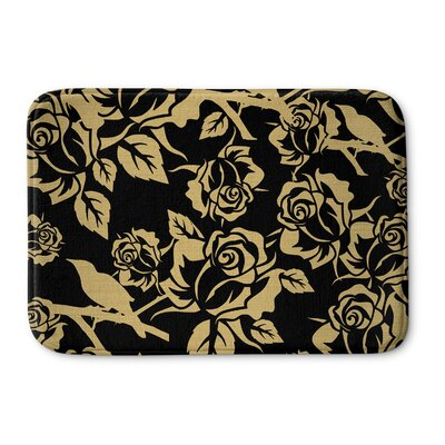 Metallic Garden Memory Foam Bath Rug Size: 17 W x 24 L, Color: Black / Yellow