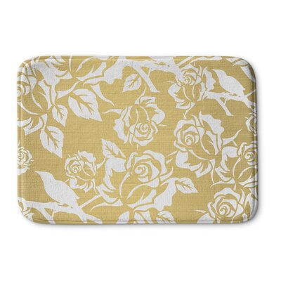 Metallic Garden Memory Foam Bath Rug Size: 24 W x 36 L, Color: Gold/ White