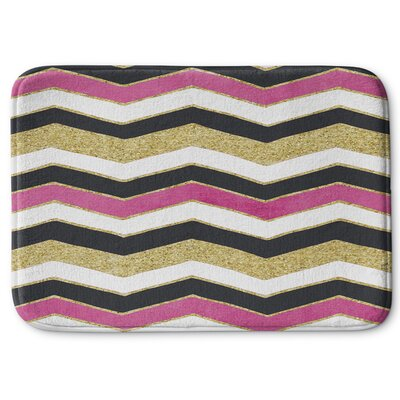 Chevron Memory Foam Bath Rug Size: 17 W x 24 L, Color: White / Pink / Black / Gold