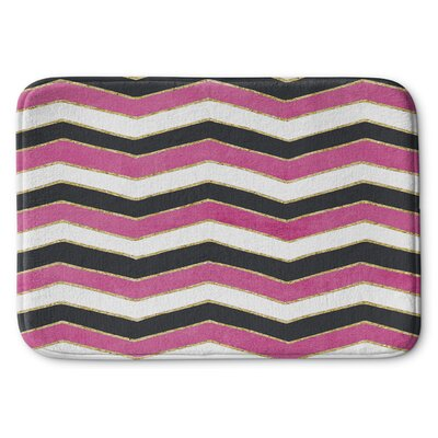 Chevron Memory Foam Bath Rug Color: White / Pink / Black, Size: 24 W x 36 L
