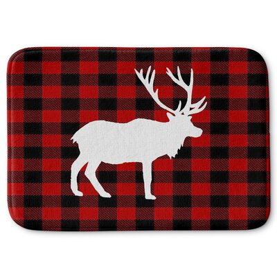 Deer Plaid Memory Foam Bath Rug Size: 24 W x 36 L