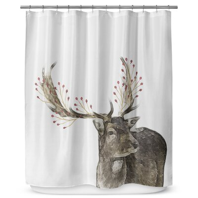 Berry Deer 90 Shower Curtain