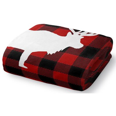 Deer Plaid Fleece Throw Blanket Size: 60 W x 80 L