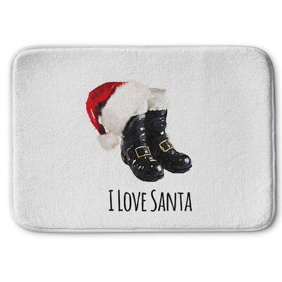 I Love Santa Memory Foam Bath Rug Size: 24 W x 36 L