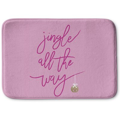 Jingle Memory Foam Bath Rug Size: 24 W x 36 L, Color: Red/ Pink