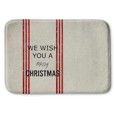 We Wish You a Merry Christmas Memory Foam Bath Rug Size: 24 W x 36 L