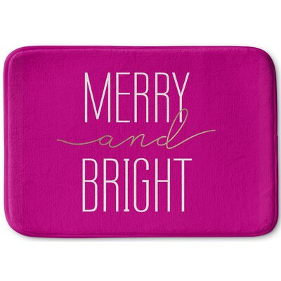 Merry and Bright Bath Rug Size: 17 W x 24 L, Color: Dark Pink