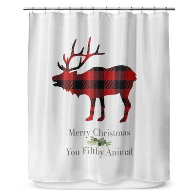 Filthy Animal 90 Shower Curtain Color: Red/ Black/ Green/ White