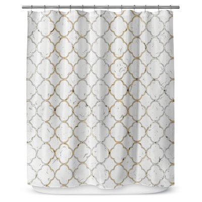 Ogee 90 Shower Curtain Color: Gold / Gray