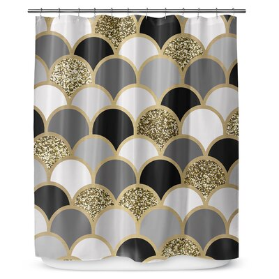 Scales 72 Shower Curtain Color: Gray / White
