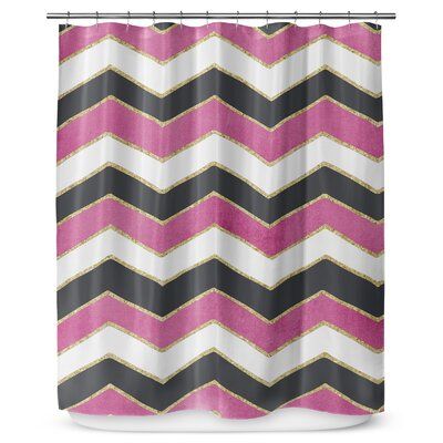 Chevron 90 Shower Curtain Color: White / Pink / Black