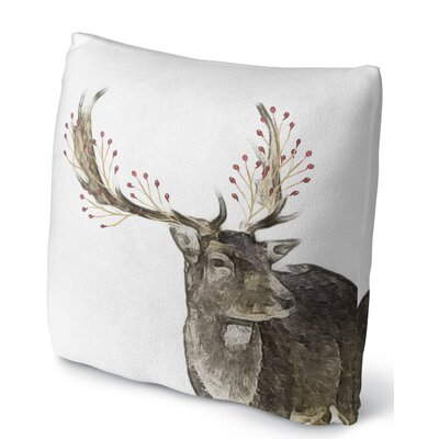 Berry Deer Throw Pillow Size: 16 H x 16 W x 4 D