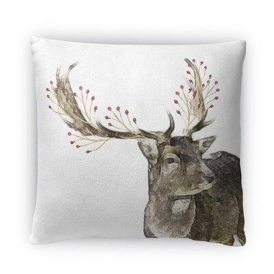 Berry Deer Fleece Throw Pillow Size: 16 H x 16 W x 4 D