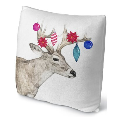Jingle Deer Throw Pillow Size: 18 H x 18 W x 4 D