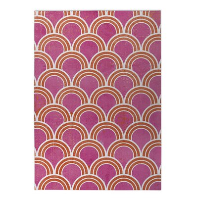 Loops Indoor/Outdoor Doormat Color: Pink, Rug Size: 5 x 7