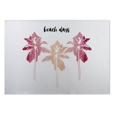 Beach Days Indoor/Outdoor Doormat Mat Size: Rectangle 5 x 7, Color: Pink/ Pink/ Black/ White