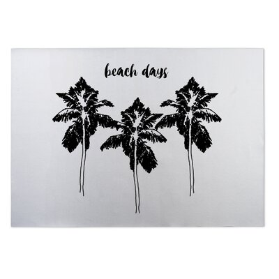 Beach Days Indoor/Outdoor Doormat Mat Size: Square 8, Color: Black/ White