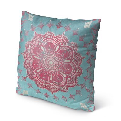 Boho Bloom Indoor/Outdoor Throw Pillow Color: Turquoise, Size: 18 H x 18 W x 5 D