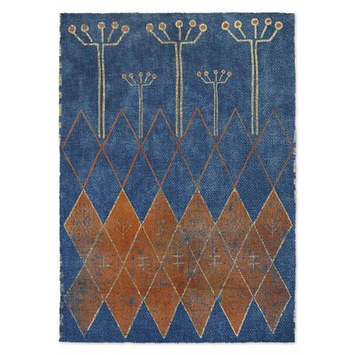 Mestara Blue/Brown Area Rug Rug Size: 5 x 7