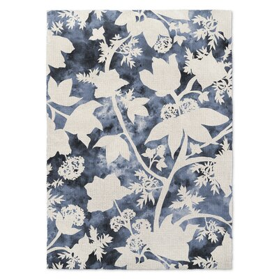 Blue/Cream Area Rug Rug Size: 5 x 7