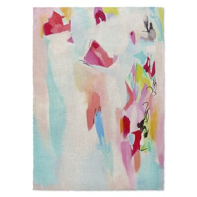 Pink/White Area Rug Rug Size: 5 x 7