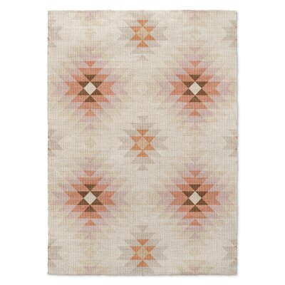 Roseau Beige/Orange Area Rug Rug Size: 5 x 7