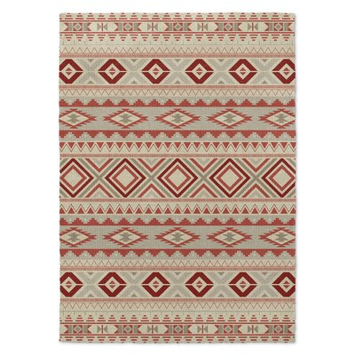 Cabarley Red/Beige Area Rug Rug Size: Rectangle 3 x 5