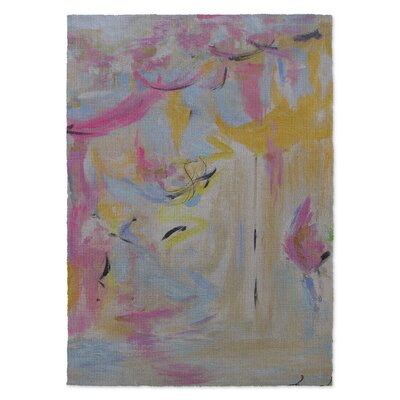 Twerk Perks Yellow/Pink Area Rug Rug Size: 2 x 3