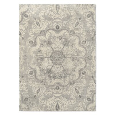 Cream/Gray Area Rug Rug Size: Rectangle 5 x 7